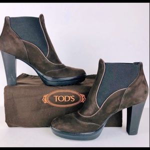 Tod's chocolate brown suede low heeled boots